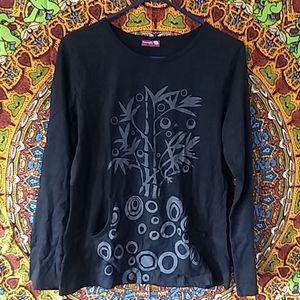 Namaste Black Cotton Artistic Tunic / Hippie Shirt
